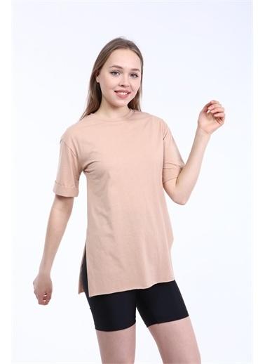 Rodi Jeans Kadın Yan Yırtmaçlı Kol Katlamalı Oversize T-Shirt DS21YB274123 Kahve